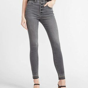 Express Denim High Waisted Button Fly Gray Jeans